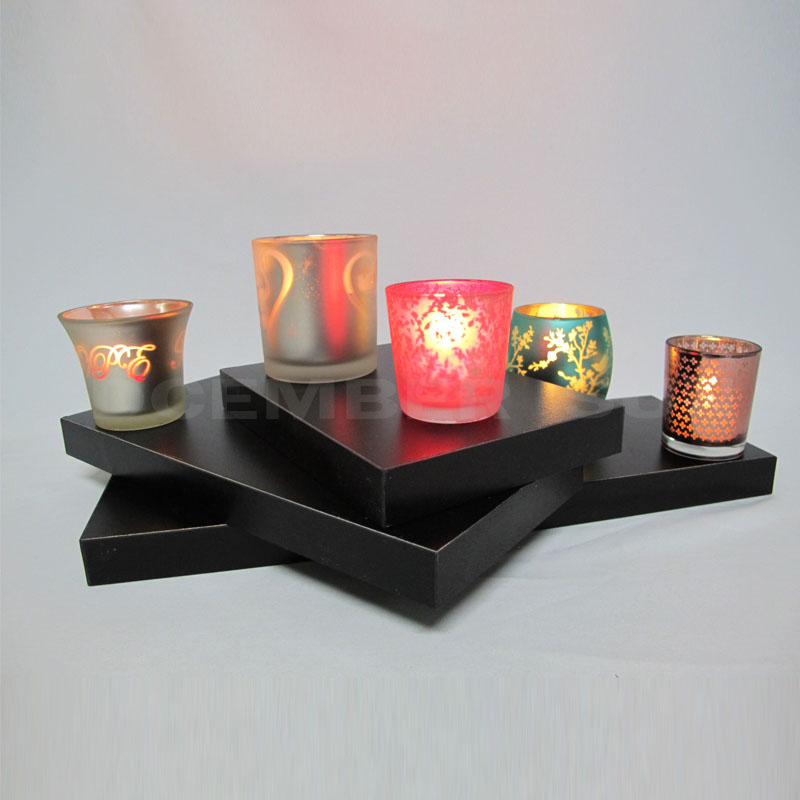Colorful design glass candle cup home decor