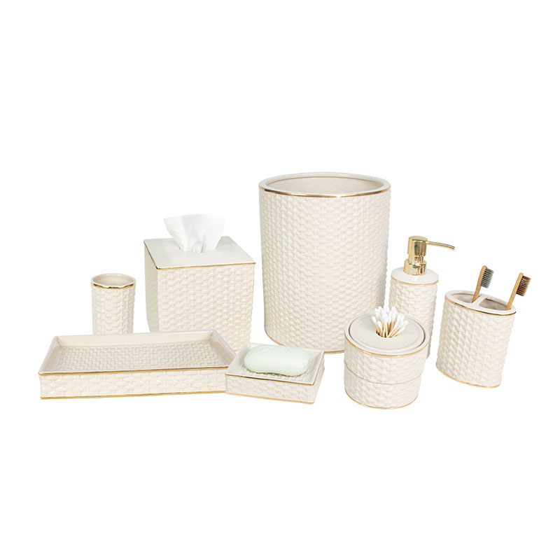 2020 New design Ivory bamboo weaving porcelain bathroom accessories set