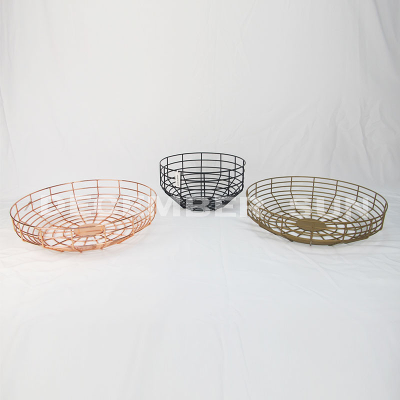 Round fruit metal basket